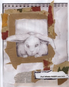 after hurricane Katrina I was invited to write an illustrate a children's book. There is only one copy: the original went to a child displaced by the storm. This is the first plate. The book is called 'Peri Winkle Rabbit Was Lost.'