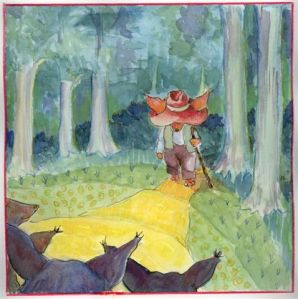 The Storyteller emerges from the forest. Lucy & The Waterfox