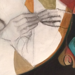 a detail from my painting, John's Secret