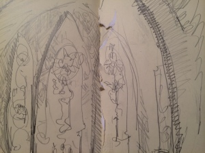a quick sketch of all three panels: birth, death, and the middle way.