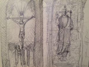 my quick sketches of two of the stained glass window panels