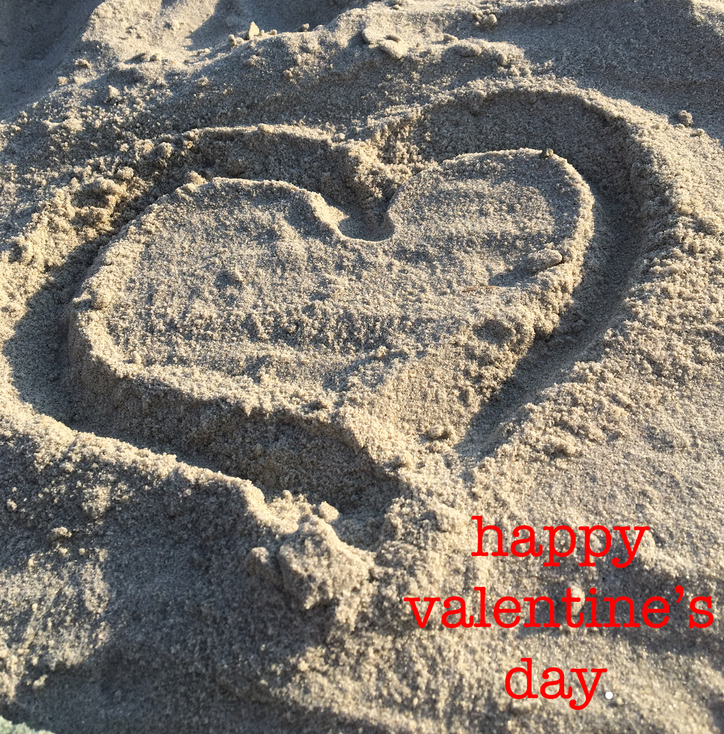 heart in sand happy valentine's day copy